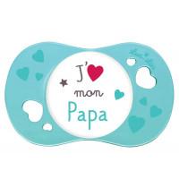 """Sucette """"j'aime mon papa"""" 6 mois+"""