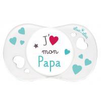 """Sucette """"j'aime mon papa"""" 0-6 mois"""