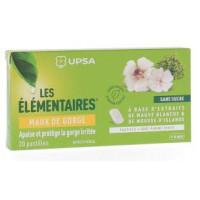 Pastilles sans sucre Maux de gorge goût pomme verte Les Elémentaires UPSA - boîte de 20 pastilles