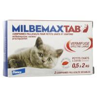Milbemax Tab Vermifuge Spectre Large Pour Chats de 0,5 à 2 kg 2 Comprimés