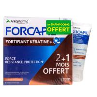 Forcapil fortifiant kératine 3 mois 180 gélules + shampooing offert