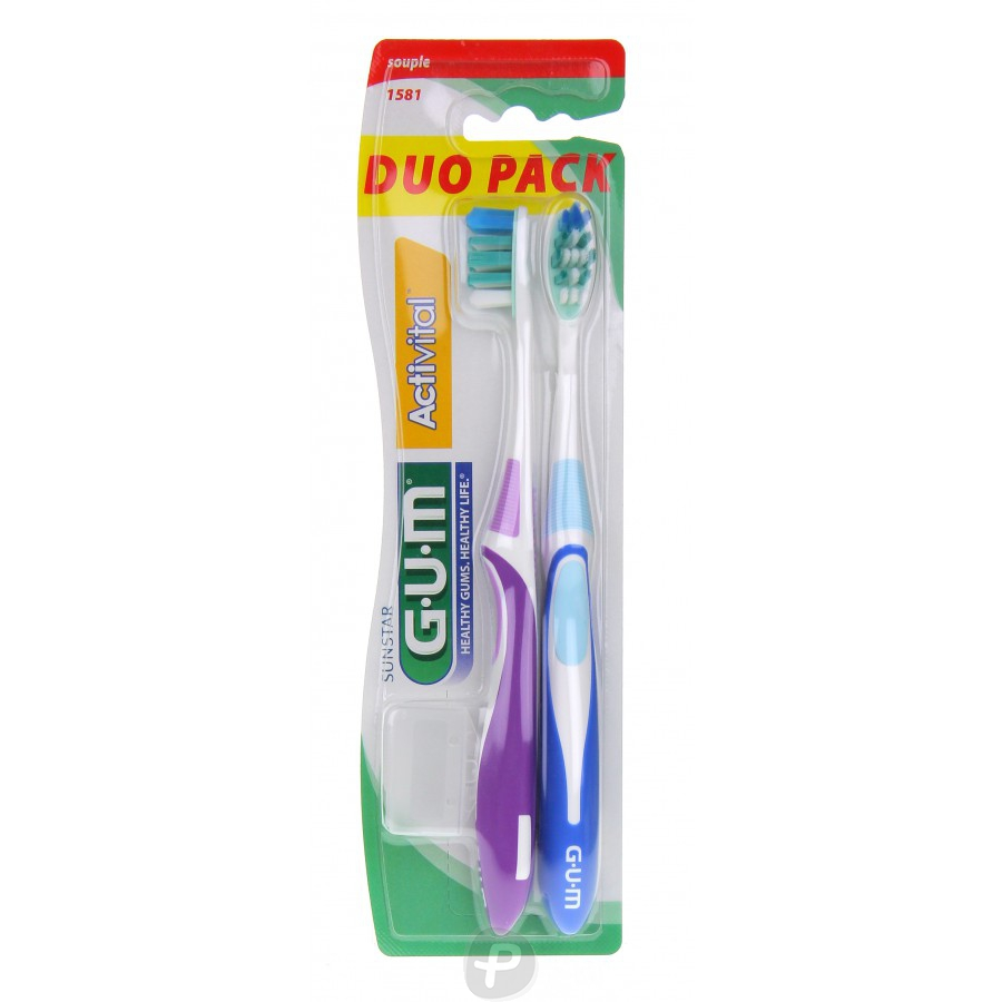 gum activital brosse dents duo pack m dium compacte 1583 pharma360. Black Bedroom Furniture Sets. Home Design Ideas