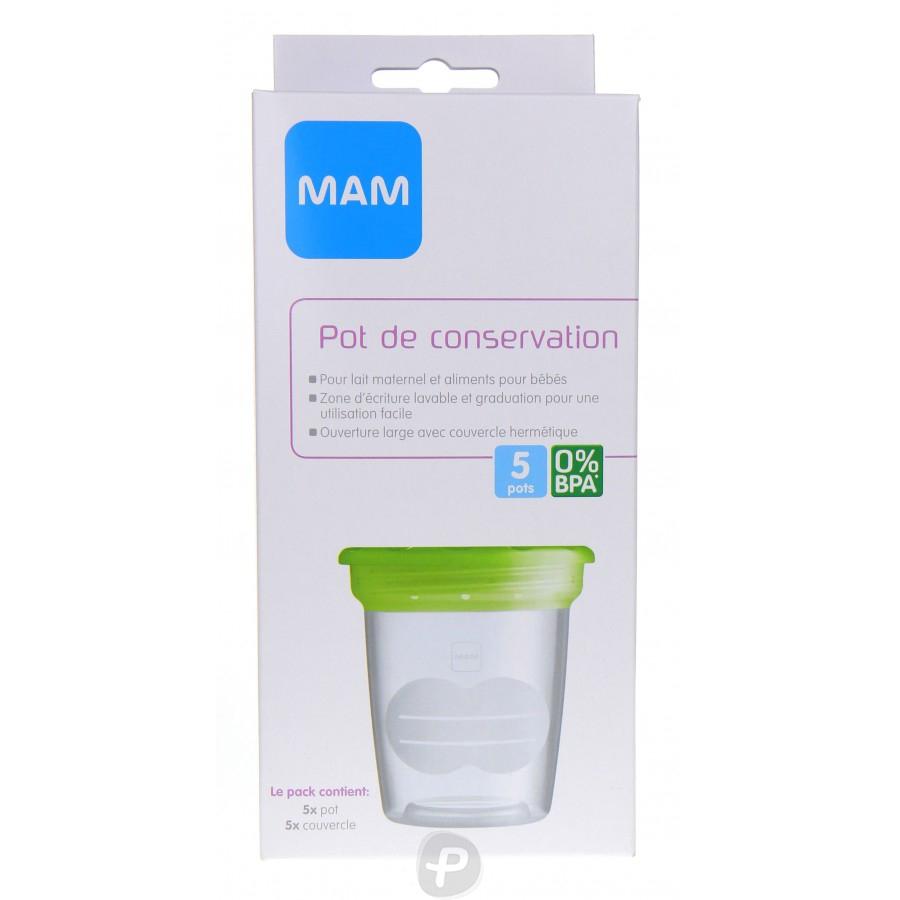 mam 5 pots de conservation de lait maternel pharma360